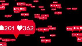 animación 3D, gustos, seguidores y contadores de los mensajes que se mueven para defender libre illustration