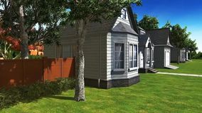 animación 13 3D para el negocio del estado que presenta una casa de exterior y de interior stock de ilustración