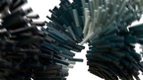 animación 3D que representa los bloques de datos que fluyen en una red ilustración del vector
