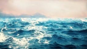 Animación de alta calidad de olas oceánicas con las montañas hermosas en el fondo colocación metrajes
