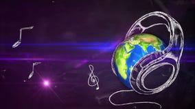 Animación de colocación de la pizarra de la nota musical de la tierra ilustración del vector