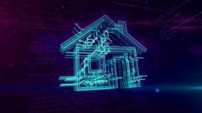 Animación de colocación del concepto inteligente de la casa IOT stock de ilustración