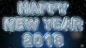 Animación de colocación del texto 3D de la Feliz Año Nuevo 2018 stock de ilustración