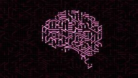 Animación de colocación inconsútil de una placa de circuito del cerebro ilustración del vector