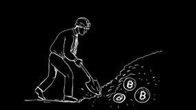 Animación de Cryptocurrency del minero de Bitcoin 2.a metrajes