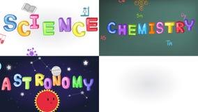 Animación de cuatro pantallas de la ciencia, de la matemáticas, de la química, y del garabato de la escritura de la astronomía co ilustración del vector