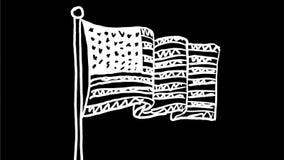 Animaci?n de dibujo de las barras y estrellas de la onda americana de la bandera 2.a ilustración del vector