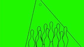 2.a animación de diez Pin Bowling Strike Drawing almacen de metraje de vídeo