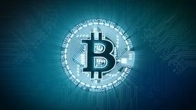 Animación de Digitaces de la muestra de moneda de Bitcoin BTC con el fondo electrónico almacen de metraje de vídeo