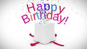 Animación de Digitaces del estallido del regalo de cumpleaños libre illustration