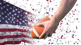 Animación de Digitaces del jugador americano del rugbi que celebra la bola de rugbi almacen de metraje de vídeo