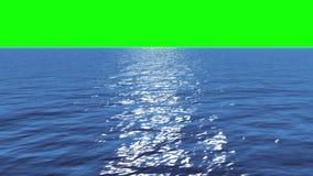 Animación de Digitaces del océano azul inmóvil debajo del cielo verde de la pantalla libre illustration