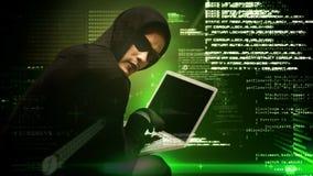 Animación de Digitaces del pirata informático encapuchado que corta el ordenador portátil metrajes