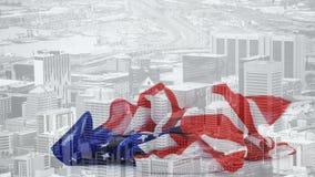 Animación de Digitaces de la bandera americana que baja contra paisaje urbano almacen de video