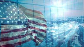 Animación de Digitaces de la bandera americana que se sacude en el viento contra la ciudad