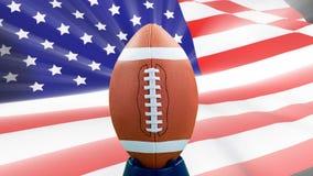 Animación de Digitaces de la bola de rugbi contra la bandera americana almacen de metraje de vídeo