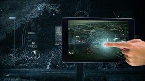 Animación de Digitaces de la mano que sigue una ubicación en la pantalla digital de la tableta