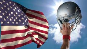 Animación de Digitaces de la situación del jugador del rugbi con el casco del rugbi contra bandera americana almacen de video