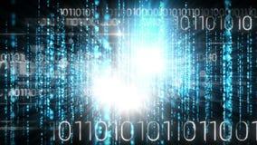 Animación de Digitaces de la tecnología del código binario y de la luz brillante almacen de metraje de vídeo