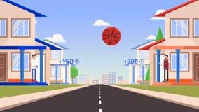 Animación de dos hombres de la historieta, colocándose en el umbral de sus casas y del globo de la tierra con un satélite y algo libre illustration