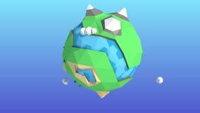 Animación de giro de la tierra miniatura del planeta ilustración del vector