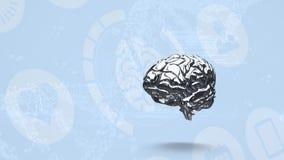 Animación de hacer girar el cerebro gris stock de ilustración