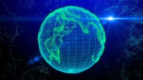 Animación de líneas y de puntos en el ciberespacio que forma la tierra del planeta metrajes