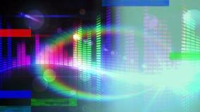 Animación de la barra colorida de los sonidos en fondo negro stock de ilustración