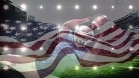 Animación de la bola de salto y de cogida del jugador de fútbol americano libre illustration