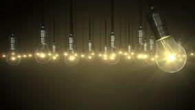 Animación de la bombilla levantamiento del resplandor del oscilación, ilustración del vector