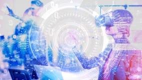 Animación de la composición de la ciencia combinada con la mujer que usa realidad aumentada almacen de video