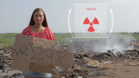 Animación de la contaminación, indicador digital, basura almacen de video