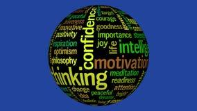 Animación de la esfera negra con la nube de pensamiento positiva de la etiqueta stock de ilustración