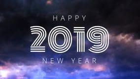Animación de la Feliz Año Nuevo con los fuegos artificiales