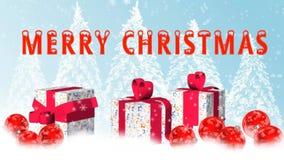 Animación de la Feliz Navidad - bolas y copos de nieve de la Navidad que caen, adicionales en la pantalla verde ilustración del vector