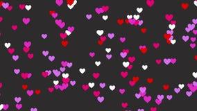 animación de la forma del corazón 4K que se mueve de la derecha hacia la izquierda con el fondo gris para el día del valentie Grá ilustración del vector
