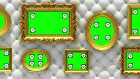 Animación de la galería de imágenes 3d Marcos del oro en fondo blanco de lujo de la tapicería La cámara se mueve a lo largo de la ilustración del vector