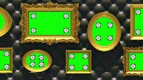 Animación de la galería de imágenes 3d Marcos del oro en fondo negro de lujo de la tapicería La cámara se mueve a lo largo de la  ilustración del vector