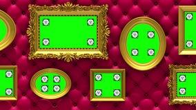 Animación de la galería de imágenes 3d Marcos del oro en fondo rojo de lujo de la tapicería La cámara se mueve a lo largo de la p stock de ilustración