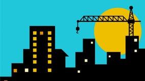 Animación de la grúa de la construcción de edificios del paisaje urbano 2.a metrajes