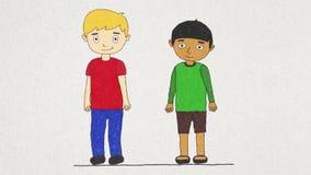 Animación de la historieta con dos muchachos de diversas razas que viven en el mismo concepto de la casa, de la tolerancia y de l stock de ilustración