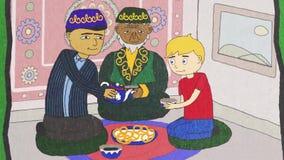 Animación de la historieta con la gente de diversas nacionalidades y religiones que bebe el té, concepto de la tolerancia Hombres stock de ilustración