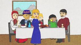 Animación de la historieta con la gente de diversas nacionalidades y de religiones que cenan junto, concepto de la tolerancia stock de ilustración