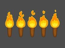 Animación de la llama para el juego ilustración del vector