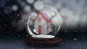 Animación de la Navidad de la choza en globo de la nieve metrajes