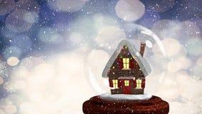 Animación de la Navidad de la choza en globo de la nieve almacen de metraje de vídeo
