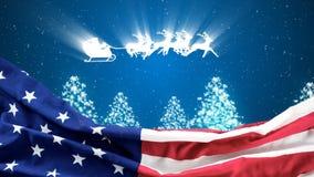 Animación de la Navidad del montar a caballo del trineo de la bandera americana y del reno en el cielo