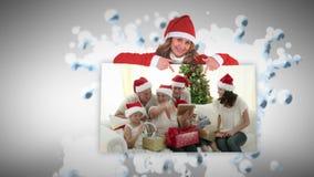 Animación de la Navidad sobre presentes de apertura de la gente almacen de metraje de vídeo