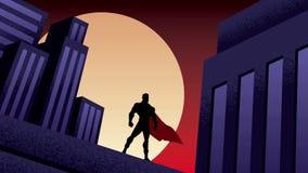 Animación de la noche de la ciudad del super héroe metrajes