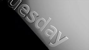 Animación de la palabra de martes, sombras en un negro y fondo gris Palabra martes que se desliza diagonalmente de izquierda a de stock de ilustración